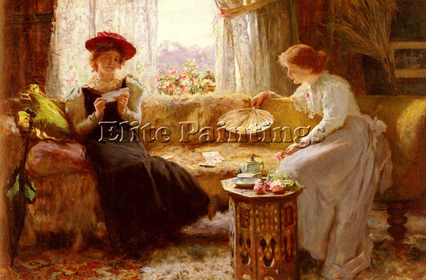 BRITISH MUSCHAMP FRANCIS SYDNEY FORTUNE TELLING ARTIST PAINTING REPRODUCTION OIL