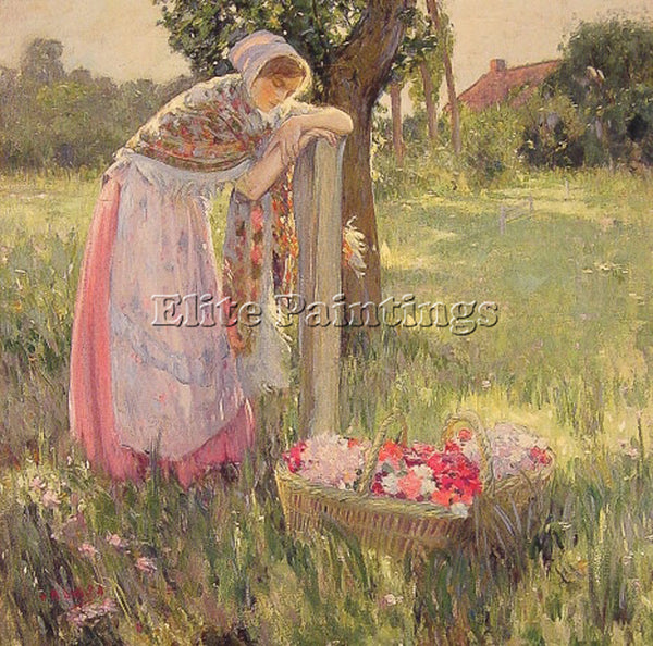 AMERICAN MYRON G BARLOW RESTING BY A BASKET OF FLOWERS ARTIST PAINTING HANDMADE
