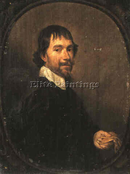 JAN MYTENS A PORTRAIT OF A MAN HOLDING A GLOVE ARTIST PAINTING REPRODUCTION OIL