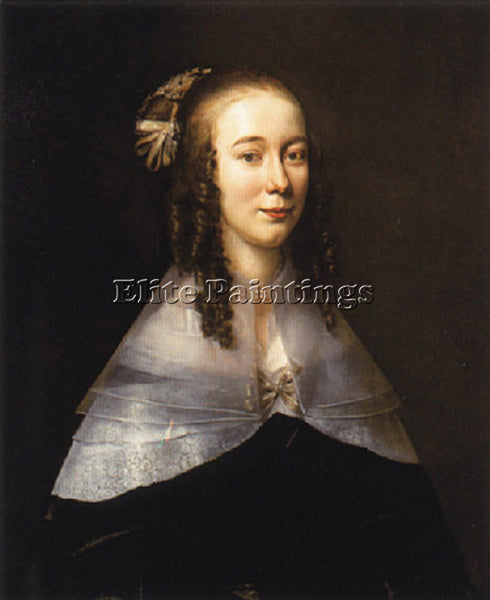 JAN MYTENS PORTRAIT OF A LADY WEARING A BLACK DRESS AND A WHITE COLLAR PAINTING