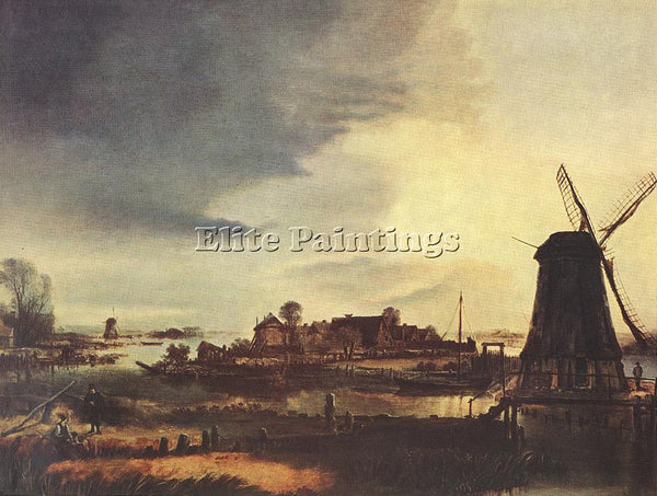 AERT VAN DER NEER LANDSCAPE WITH WINDMILL ARTIST PAINTING REPRODUCTION HANDMADE