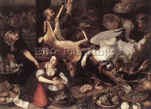 HOLLAND NIEULANDT ADRIAEN VAN KITCHEN SCENE ARTIST PAINTING HANDMADE OIL CANVAS