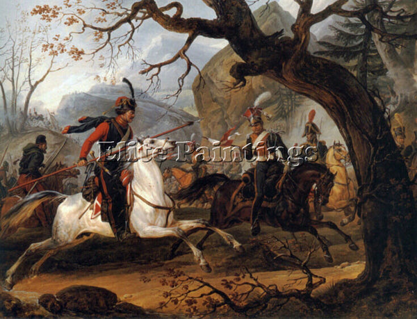 HORACE VERNET NAPOLEONIC BATTLE IN THE ALPS ARTIST PAINTING HANDMADE OIL CANVAS
