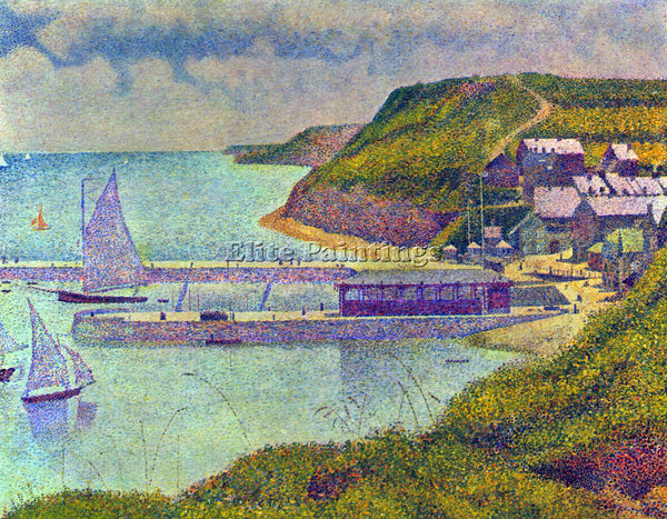 SEURAT NAVY PORT EN BESSIN  ARTIST PAINTING REPRODUCTION HANDMADE OIL CANVAS ART