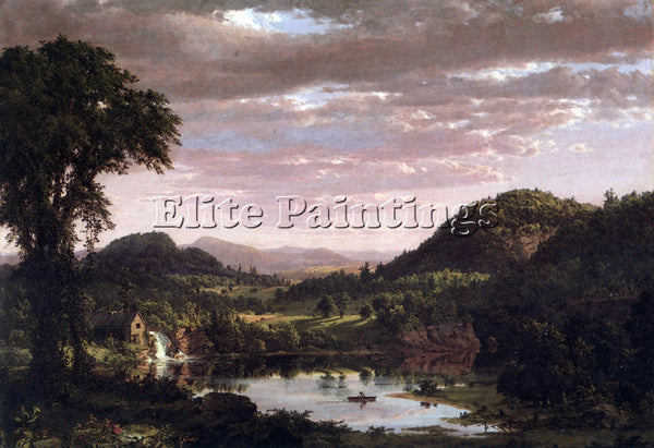HUDSON RIVER NEW ENGLAND LANDSCAPE BY FREDERICK EDWIN CHURCH ARTIST PAINTING OIL