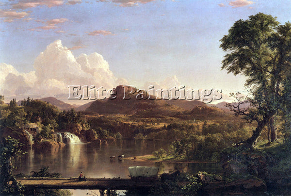 HUDSON RIVER NEW ENGLAND SCENE BY FREDERICK EDWIN CHURCH ARTIST PAINTING CANVAS