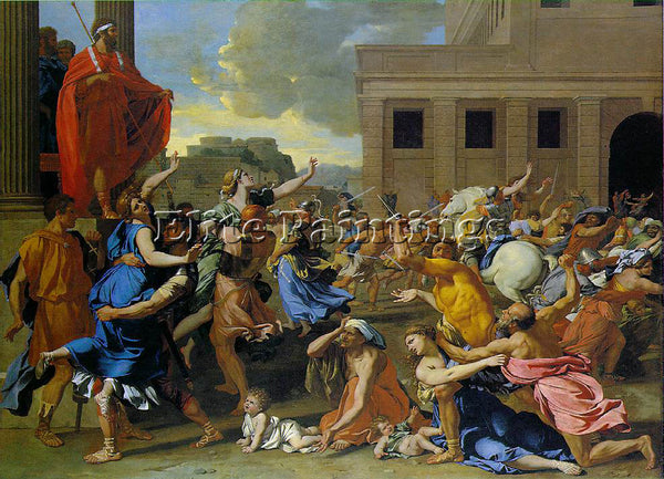 NICOLAS POUSSIN RAPE OF THE SABINE WOMEN 1 ARTIST PAINTING REPRODUCTION HANDMADE