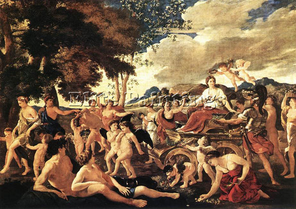 NICOLAS POUSSIN TRIUMPH OF FLORA ARTIST PAINTING REPRODUCTION HANDMADE OIL REPRO