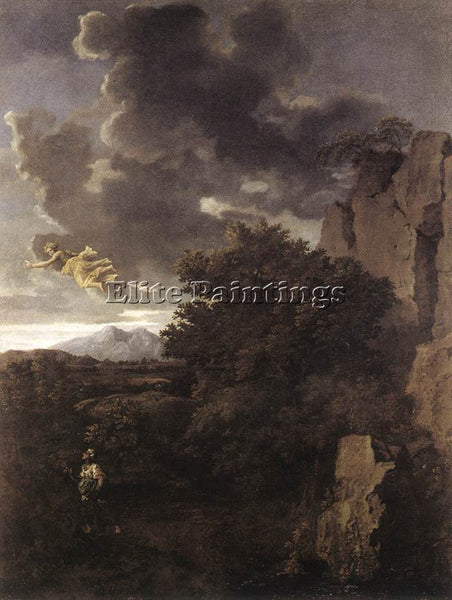 NICOLAS POUSSIN  HAGAR AND THE ANGEL ARTIST PAINTING REPRODUCTION HANDMADE OIL
