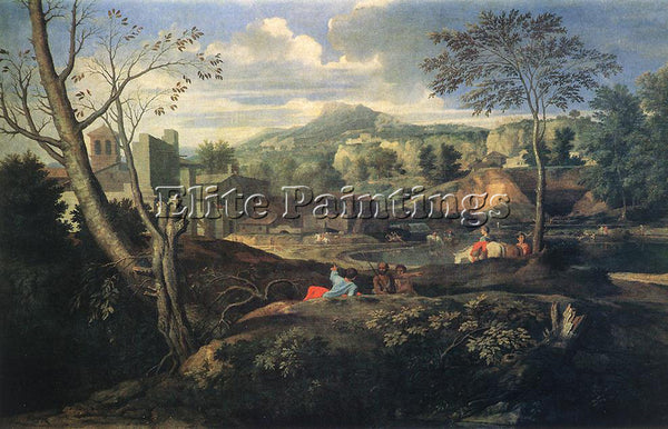 NICOLAS POUSSIN  IDEAL LANDSCAPE ARTIST PAINTING REPRODUCTION HANDMADE OIL REPRO