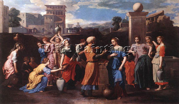 NICOLAS POUSSIN  REBECCA AT THE WELL ARTIST PAINTING REPRODUCTION HANDMADE OIL