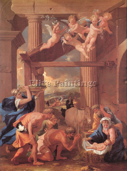 NICOLAS POUSSIN  THE ADORATION OF THE SHEPHERDS ARTIST PAINTING REPRODUCTION OIL
