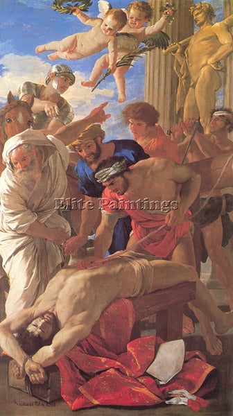 NICOLAS POUSSIN  THE MARTYRDOM OF ST ERASMUS ARTIST PAINTING HANDMADE OIL CANVAS
