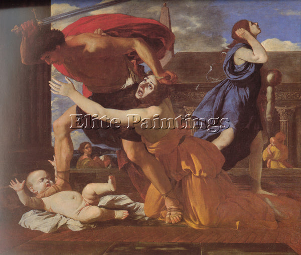 NICOLAS POUSSIN  THE MASSACRE OF THE INNOCENTS ARTIST PAINTING REPRODUCTION OIL