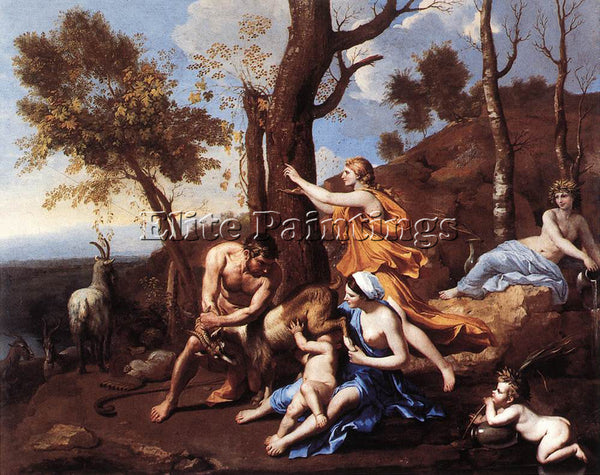 NICOLAS POUSSIN  THE NURTURE OF JUPITER ARTIST PAINTING REPRODUCTION HANDMADE