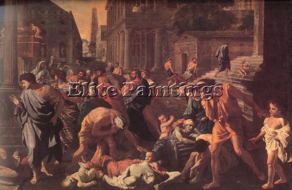 NICOLAS POUSSIN  THE PLAGUE OF ASHDOD ARTIST PAINTING REPRODUCTION HANDMADE OIL