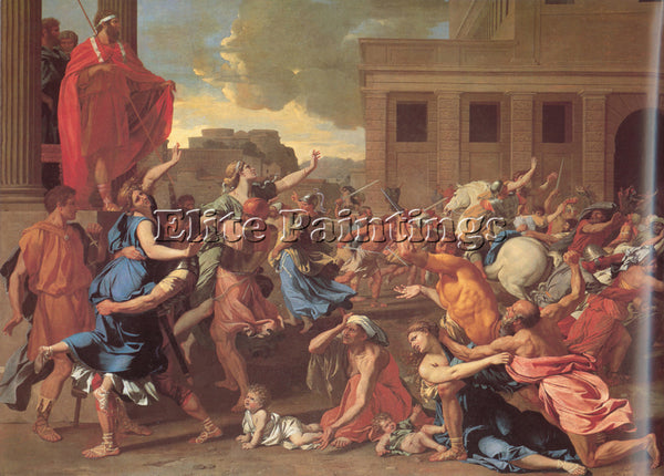 NICOLAS POUSSIN  THE RAPE OF THE SABINE WOMEN ARTIST PAINTING REPRODUCTION OIL