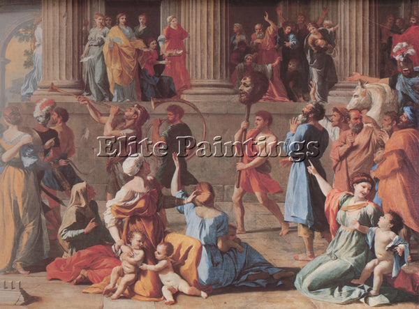 NICOLAS POUSSIN  THE TRIUMPH OF DAVID DETAIL ARTIST PAINTING HANDMADE OIL CANVAS