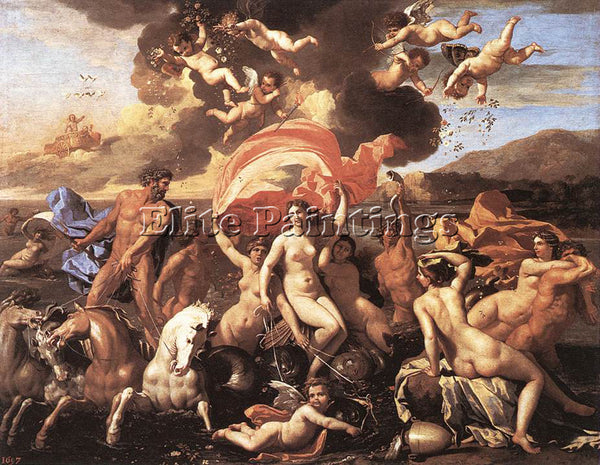 NICOLAS POUSSIN  THE TRIUMPH OF NEPTUNE ARTIST PAINTING REPRODUCTION HANDMADE