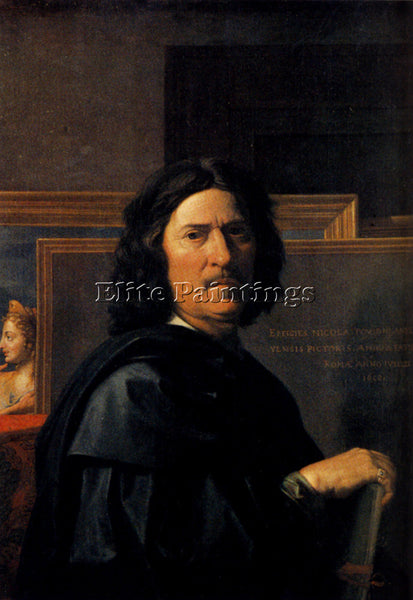 NICOLAS POUSSIN  SELF PORTRAIT ARTIST PAINTING REPRODUCTION HANDMADE OIL CANVAS