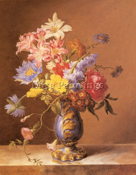 AUSTRALIAN NIGG JOSEF FLOWERS IN A BLUE VASE ARTIST PAINTING HANDMADE OIL CANVAS