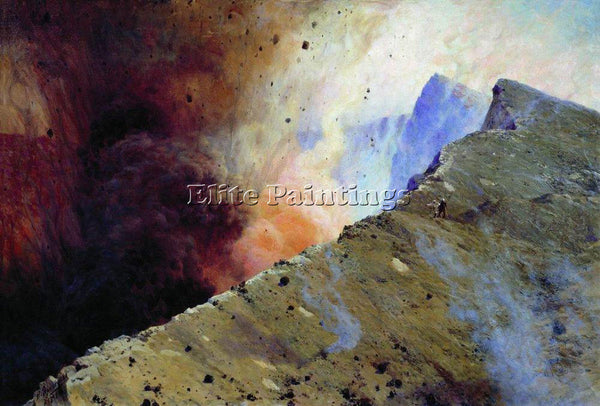 NIKOLAI YAROSHENKO ERUPTION OF VOLCANO 1898 ARTIST PAINTING HANDMADE OIL CANVAS