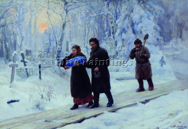 NIKOLAI YAROSHENKO FUNERAL OF FIRSTBORN 1893 ARTIST PAINTING HANDMADE OIL CANVAS