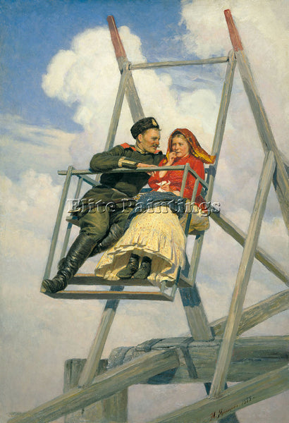 NIKOLAI YAROSHENKO ON THE SWING 1888 ARTIST PAINTING REPRODUCTION HANDMADE OIL