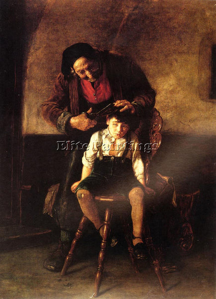 GREEK NIKOLAOS GYSIS THE BARBER ARTIST PAINTING REPRODUCTION HANDMADE OIL CANVAS