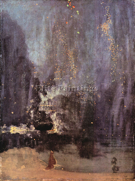 JAMES ABBOT MCNEILL NOCTURNE IN BLACK AND GOLD FALLING ROCKET WHISTLER PAINTING