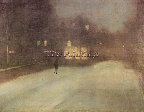 JAMES ABBOT MCNEILL NOCTURNE IN GRAY AND GOLD SNOW IN CHELSEA WHISTLER PAINTING