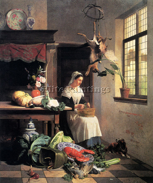 DAVID EMILE JOSEPH DE NOTER A MAID IN THE KITCHEN ARTIST PAINTING REPRODUCTION