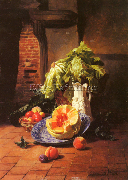 DAVID DE NOTER STILL LIFE WITH WHITE PORCELAIN PITCHER FRUIT VEGETABLES PAINTING