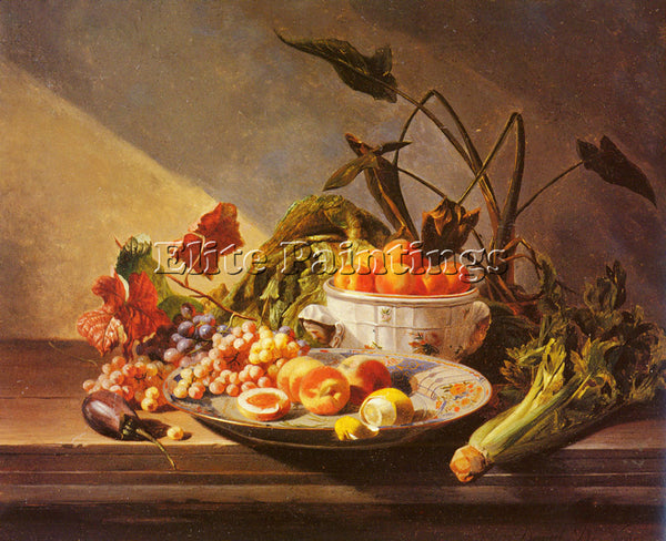 DAVID DE NOTER STILL LIFE WITH FRUIT AND VEGETABLES ON TABLE ARTIST PAINTING OIL