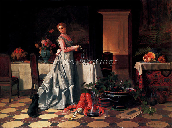 DAVID EMILE JOSEPH DE NOTER PREPARING THE BANQUET COPY ARTIST PAINTING HANDMADE