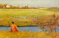 BELGIAN NYS FRANCIS FISHING ON A SUMMER DAY ARTIST PAINTING HANDMADE OIL CANVAS