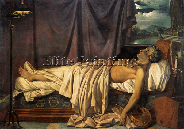BELGIAN ODEVAERE JOSEPH DENIS LORD BYRON ON HIS DEATH BED ARTIST PAINTING CANVAS