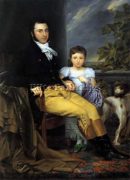ODEVAERE PORTRAIT PROMINENT GENTLEMAN WITH HIS DAUGHTER AND HUNTING DOG PAINTING