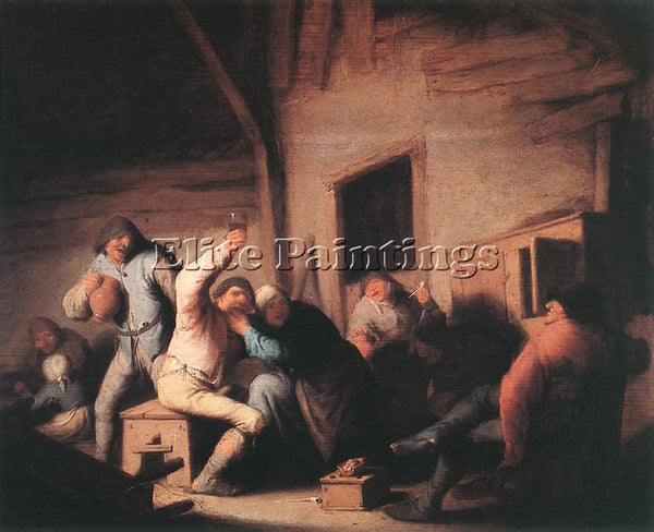 ADRIAEN VAN OSTADE CAROUSING PEASANTS IN A TAVERN ARTIST PAINTING REPRODUCTION