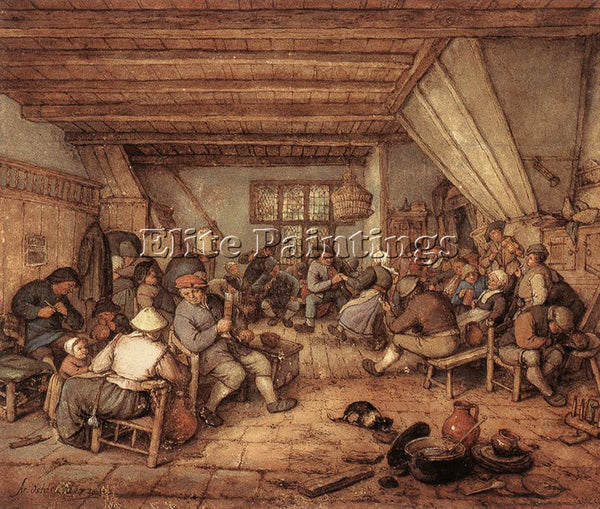 ADRIAEN VAN OSTADE FEASTING PEASANTS IN A TAVERN ARTIST PAINTING HANDMADE CANVAS