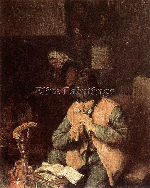 ADRIAEN VAN OSTADE FLUTE PLAYER ARTIST PAINTING REPRODUCTION HANDMADE OIL CANVAS