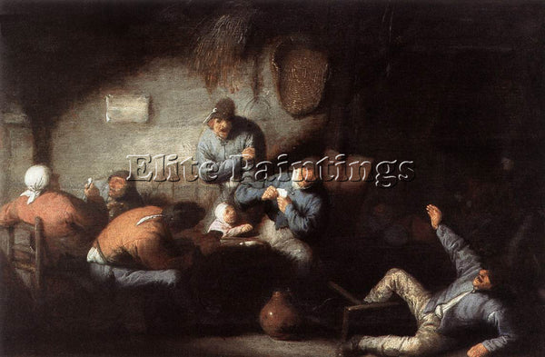 ADRIAEN VAN OSTADE INN SCENE ARTIST PAINTING REPRODUCTION HANDMADE CANVAS REPRO