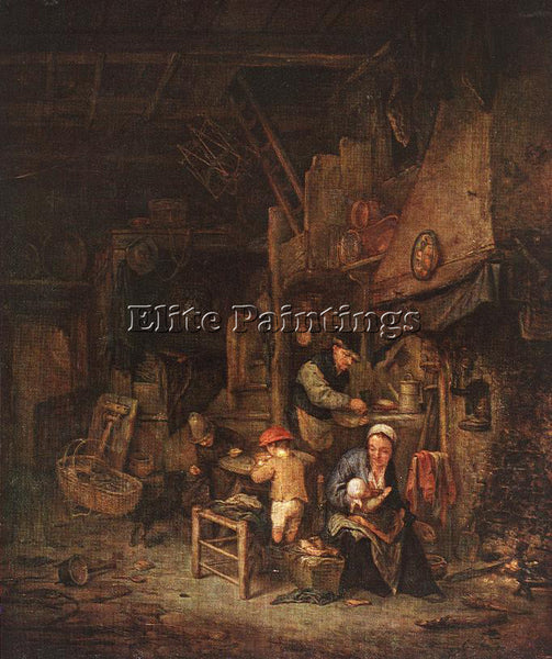 ADRIAEN VAN OSTADE INTERIOR WITH A PEASANT FAMILY ARTIST PAINTING REPRODUCTION