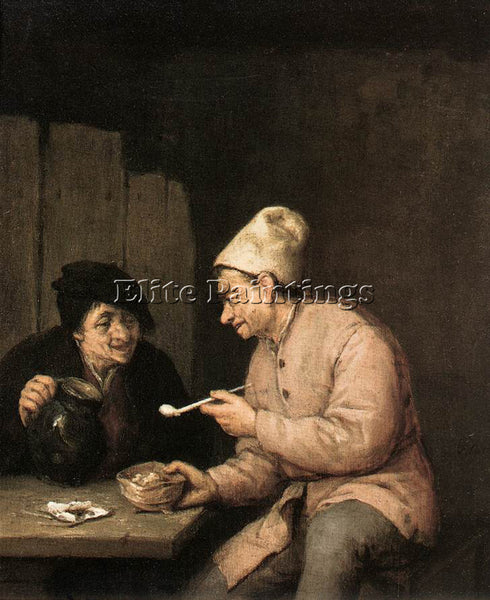 ADRIAEN VAN OSTADE PIPING AND DRINKING IN THE TAVERN ARTIST PAINTING HANDMADE