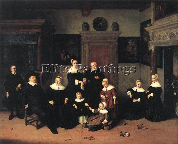 ADRIAEN VAN OSTADE PORTRAIT OF A FAMILY ARTIST PAINTING REPRODUCTION HANDMADE