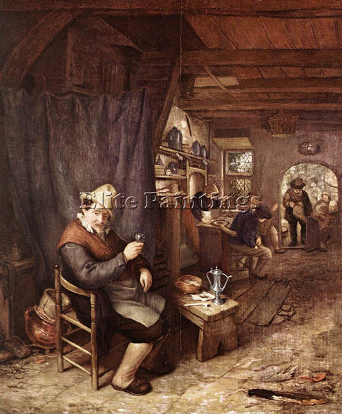 ADRIAEN VAN OSTADE THE DRINKER ARTIST PAINTING REPRODUCTION HANDMADE OIL CANVAS