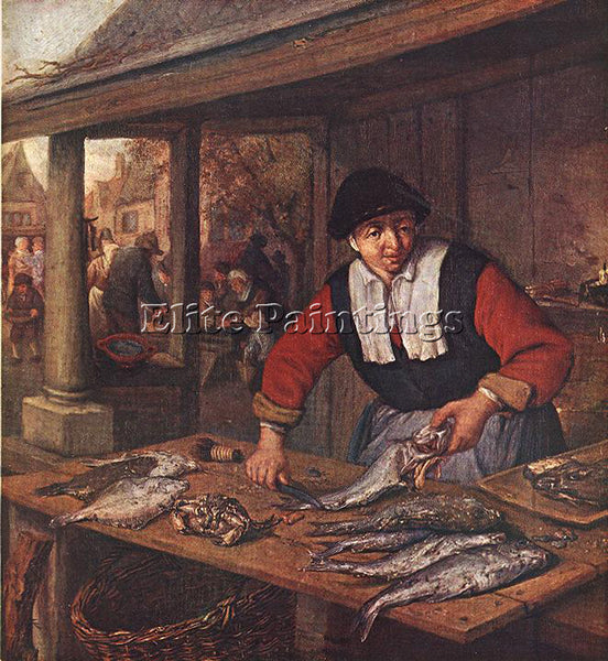 ADRIAEN VAN OSTADE THE FISHWIFE ARTIST PAINTING REPRODUCTION HANDMADE OIL CANVAS