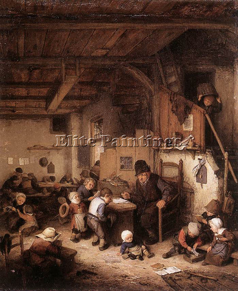 ADRIAEN VAN OSTADE THE SCHOOL MASTER ARTIST PAINTING REPRODUCTION HANDMADE OIL