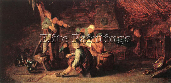 ADRIAEN VAN OSTADE VILLAGE FEAST ARTIST PAINTING REPRODUCTION HANDMADE OIL REPRO