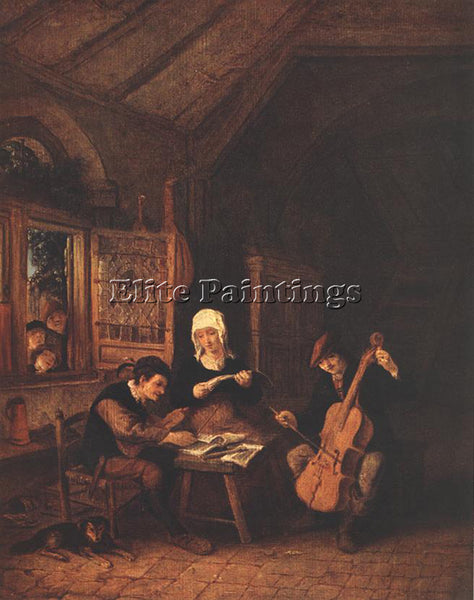 ADRIAEN VAN OSTADE VILLAGE MUSICIANS ARTIST PAINTING REPRODUCTION HANDMADE OIL
